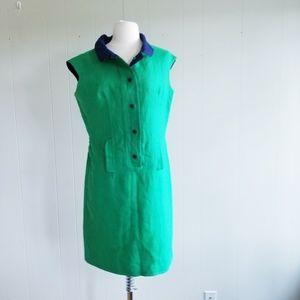 1960s Unlabeled Green & Navy Shift Dress